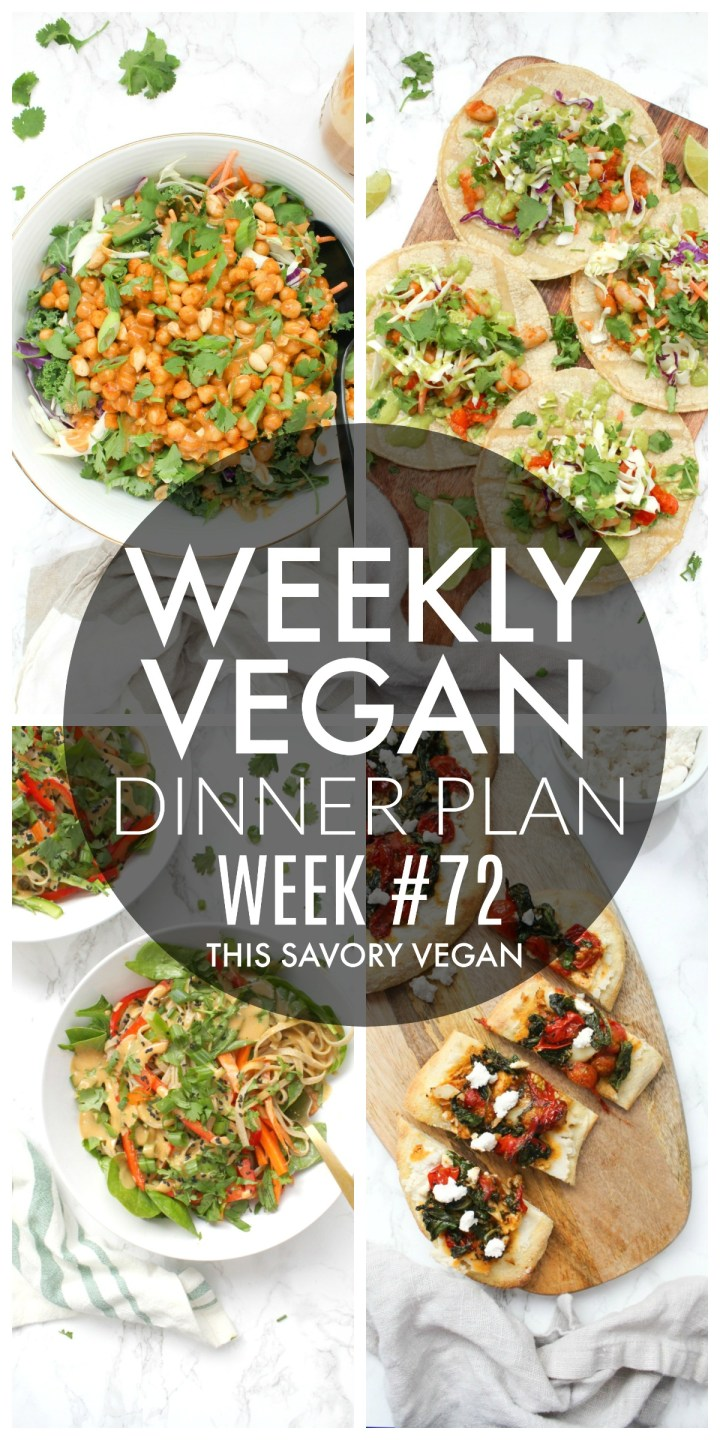 Weekly Vegan Dinner Plan #72 - five nights worth of vegan dinners to help inspire your menu. Choose one recipe to add to your rotation or make them all - shopping list included | ThisSavoryVegan.com #thissavoryvegan #mealprep #dinnerplan