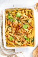 """I'll just say that TikTok influenced this Vegan Baked """"Feta"""" Pasta. It was a viral recipe that is made even better by being vegan-ized 