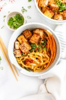 These Udon Noodles with Black Pepper Tofu are filled with crispy veggies, savory noodles and fried tofu. The perfect vegan noodle bowl | ThisSavoryVegan.com #thissavoryvegan #noodlebowls #tofurecipes