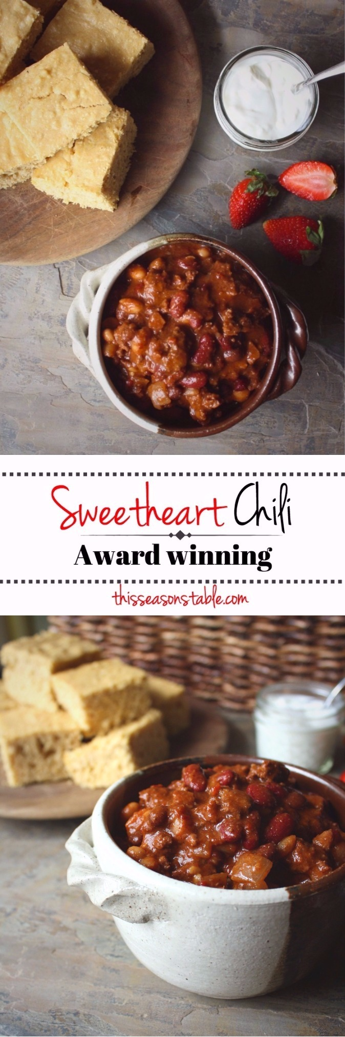 An award-winning sweet chili with a secret ingredient - strawberries!! It makes a large batch to get you through a nice cold weekend!