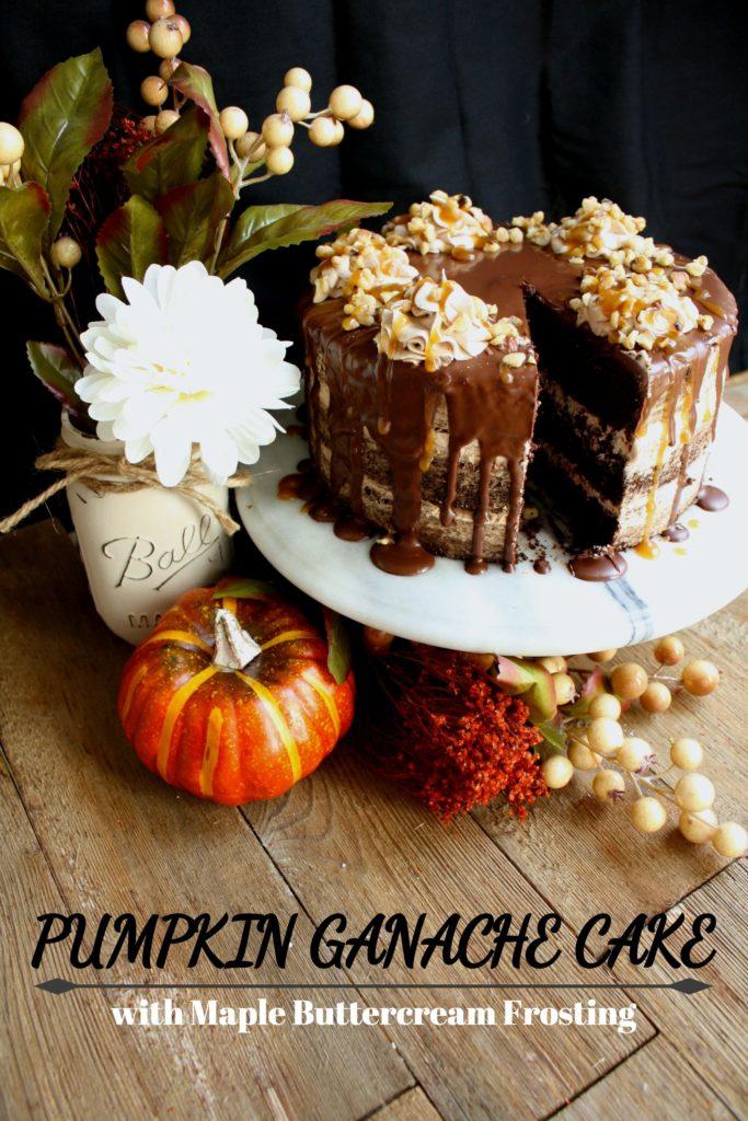 VEGAN PUMPKIN GANACHE CAKE with MAPLE BUTTERCREAM FROSTING