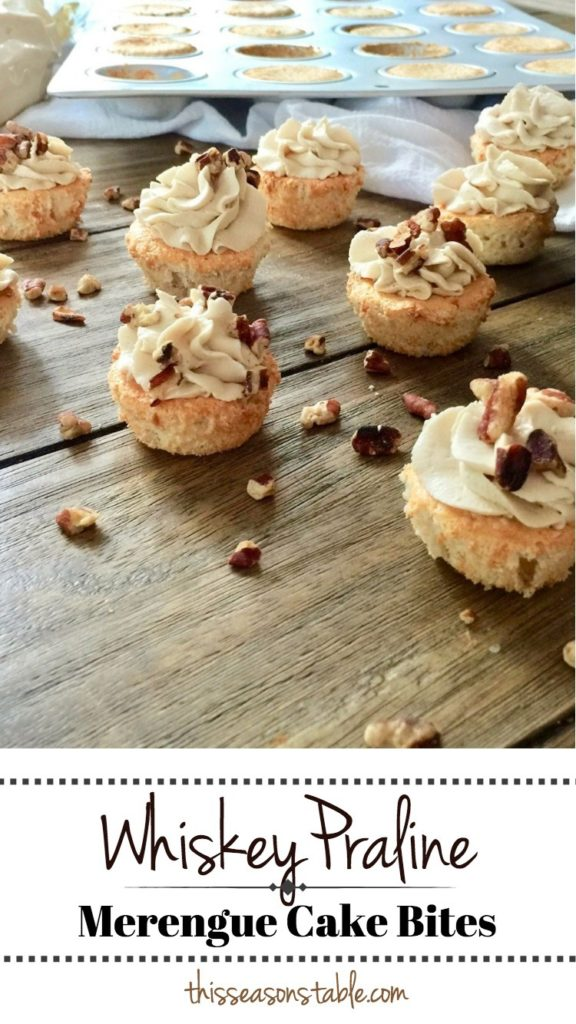 Pillowy bites of merengue cake topped with a praline flavored homemade whipped cream and toasted pecans.