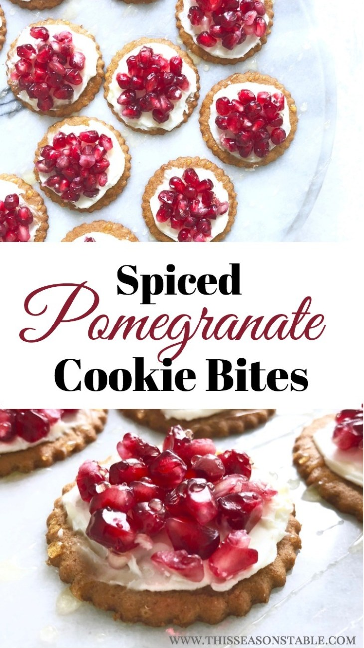 Delicious ginger cookies, topped with creamy mascarpone cheese, fresh seasonal pomegranate and a drizzle of honey. Makes the perfect, easy party appetizer! Appetizers | Party Food | Holiday Recipes | Quick Appetizer Recipes | Pomegranate Recipes | 4 Ingredient Recipes
