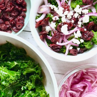 Super Easy Kale Salad with Cranberries, Goat Cheese and Lime Pickled Onions
