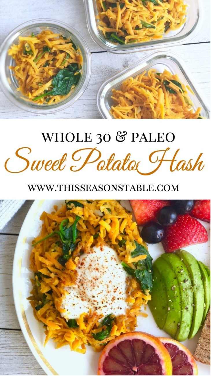 Don't have the same old boring breakfast this week...liven up your plate with a delicious sweet potato hash filled with spinach and garlic, topped with a protein-packed egg and smoked paprika! 10 minutes and you will have breakfast prepped for a whole week! breakfast | healthy breakfast | whole30 breakfast ideas | paleo breakfast