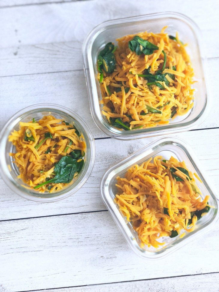 sweet potato hash in food prep containers