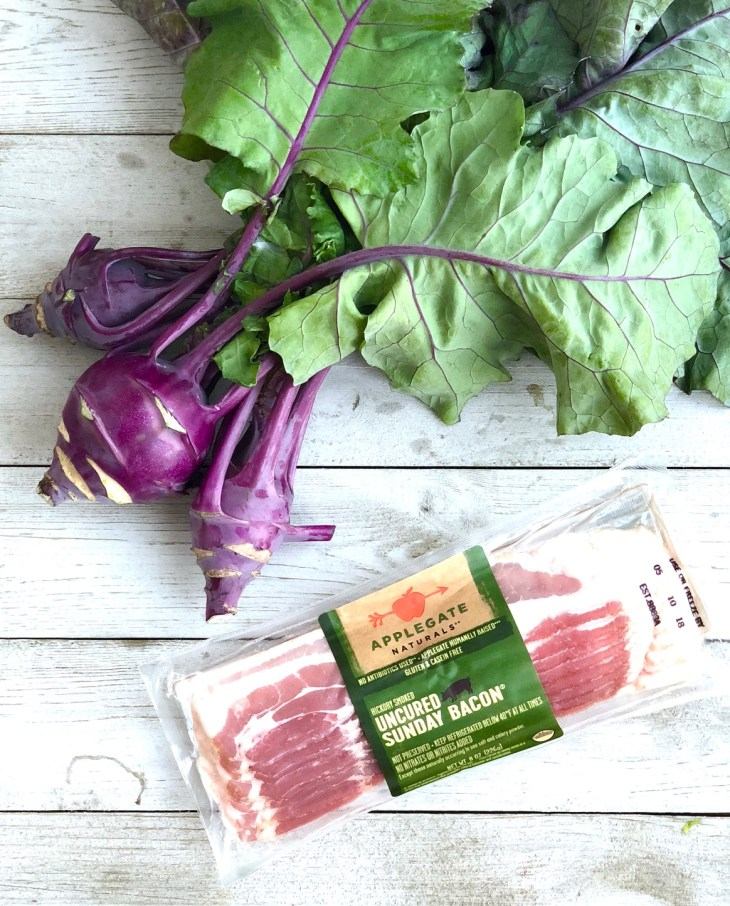 picture of kohlrabi and pack of bacon