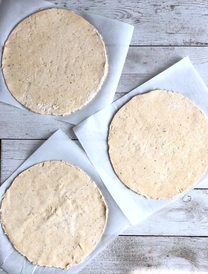 flatbreads on parchment squares