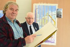 Artist Aidan Doyle with Cllr Kerr