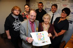The Mayor and Mayoress are pictured with Equal People's Shaun Armour, Arts4wellbeing's Rochelle Stewart, Friends Action North East's Jay Hare, community librarian Tom Relph and Arts4wellbeing's Raylee Harrison.