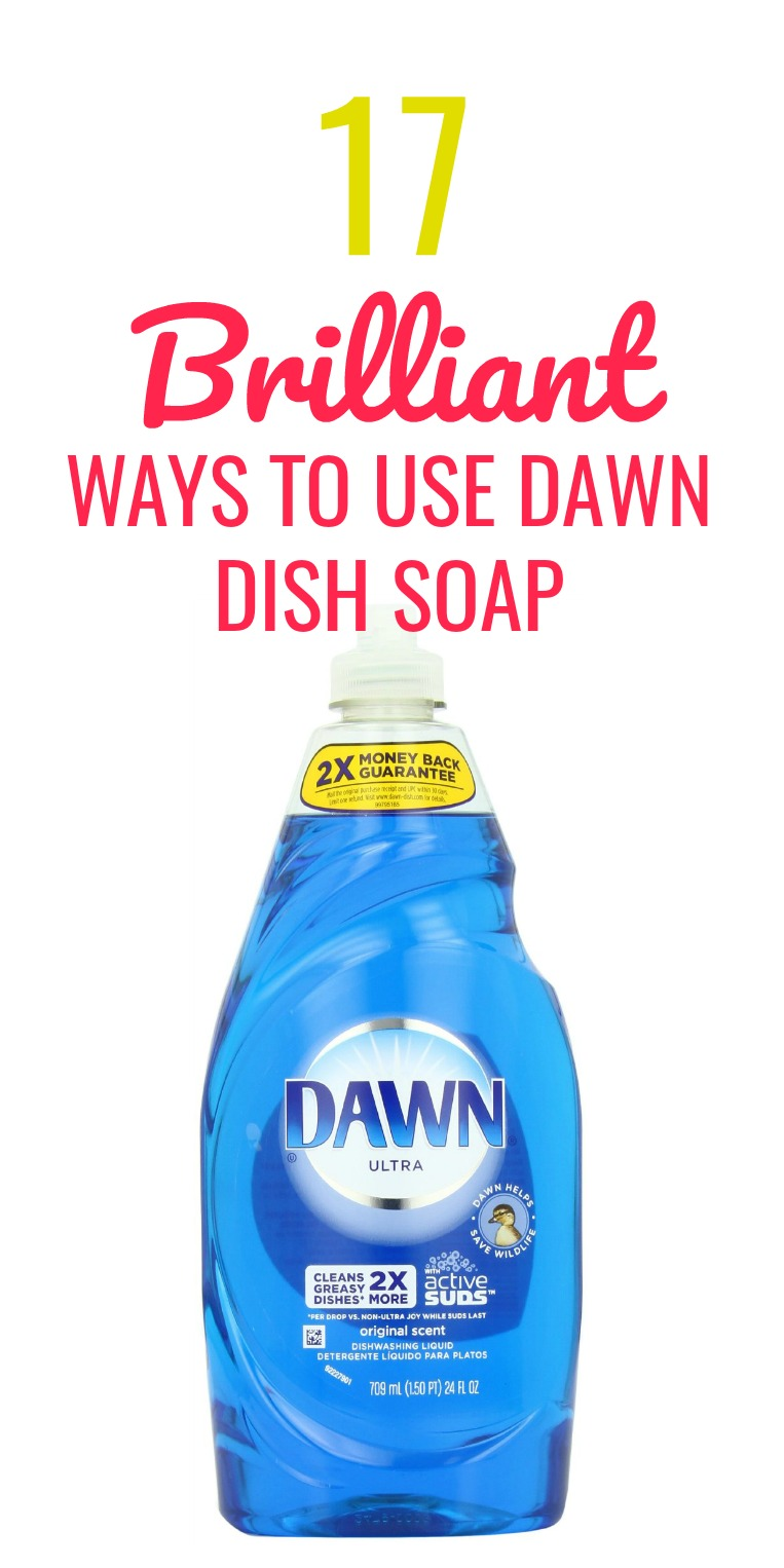 17 genius non cleaning Dawn dish soap hacks. Tips & Tricks to use Dawn dish soap to help eliminate common household problems from clogged toilets to de-greasing laundry. This stuff is beyond awesome and here are 17 Dawn dish soap uses outside of just cleaning. dawn dish soap uses | dawn dish soap cleaning | dawn dish soap