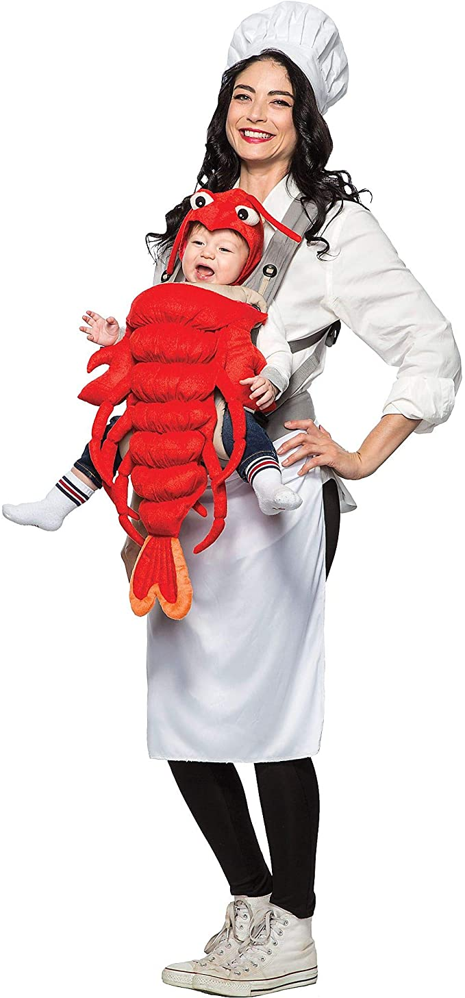 mommy and me chef and her lobster costume