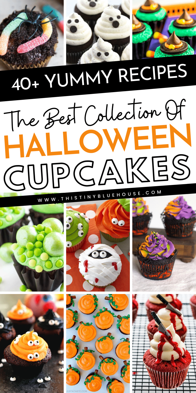 40+ Super cute spooktacular Halloween cupcakes to make this Halloween extra delicious. Super easy, super spooky these Halloween cupcakes are a must try. #halloweenfoods #halloweenfoodideas #halloweencupcakes #halloweenpotluckrecipes #halloweensweettreats #easyhalloweenpartyfoods