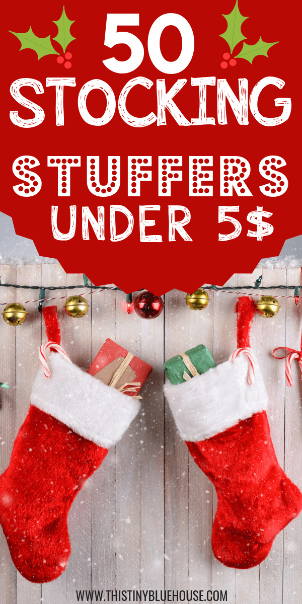 Here is a massive collection of stocking stuffers under $5 for the whole family. Don't spend a fortune on stocking stuffers this year by using this convenient stocking stuffer guide. #stockingstuffers #stockingstuffersformen #stockingstuffersforteens #stockingstuffersforadults #stockingstuffersfortoddlers #stockingstufferscheap #stockingstuffersunder$5 #giftguides #5$stockingstuffers