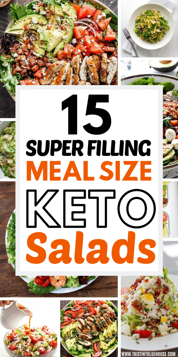 Stay full for hours by preparing one these delicious crazy filling keto lunch salads. Great for lunch or dinner, these filling salads are a great keto friendly meal idea. #ketosalads #ketosaladslowcarb #ketosaladsrecipes #ketosaladseasy #ketosaladsideas #ketolunchideas #ketolunchideastowork #ketolunchideaseasy #ketolunchideasmealprep #ketolunchideasfilling