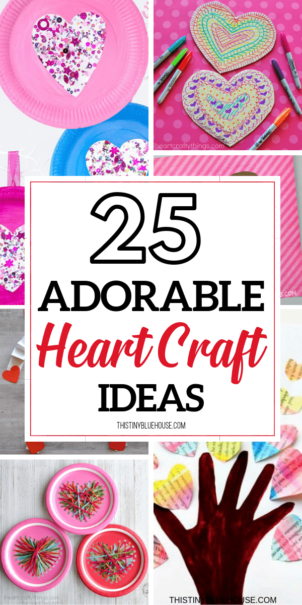 Here is the best and cutest collection of  heart crafts for kids to make for Valentines Day. Super easy and with few supplies these heart crafts will keep kiddos busy for hours! #craftsforkids #valentinesdaycrafts #heartcraftsforkids