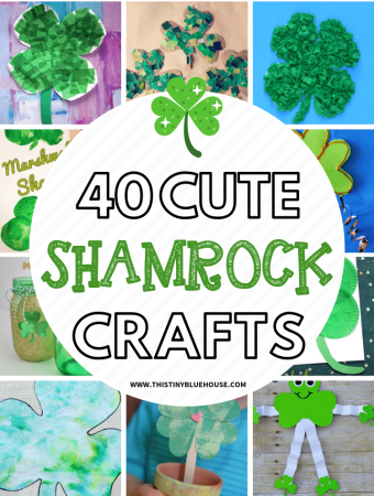 Here are 40 adorable and easy Shamrock Crafts For Kids that are the perfect way to celebrate St Patrick's Day. #stpatricksdaycrafts #stpatricksdaycraftsforkids #stpatricksdaycraftsfortoddlers #DIYstpatricksdaycrafts #stpattysdaycrafts #clovercrafts #shamrockcrafts