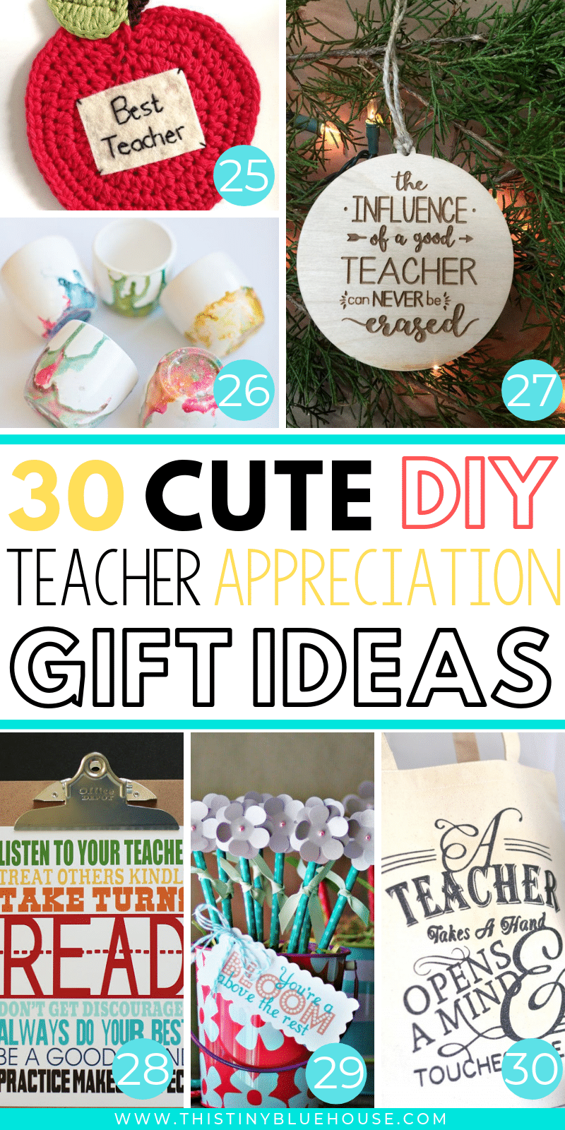 Are you looking for cute teacher appreciation gifts to express your gratitude? Here are the absolute best cute and DIY teacher appreciation gifts. #teachergifts #teacherappreciationgifts #teachergiftsendofyear #teachergiftsdiy #easydiyteachergifts #homemadeteachergifts #uniqueteachergifts