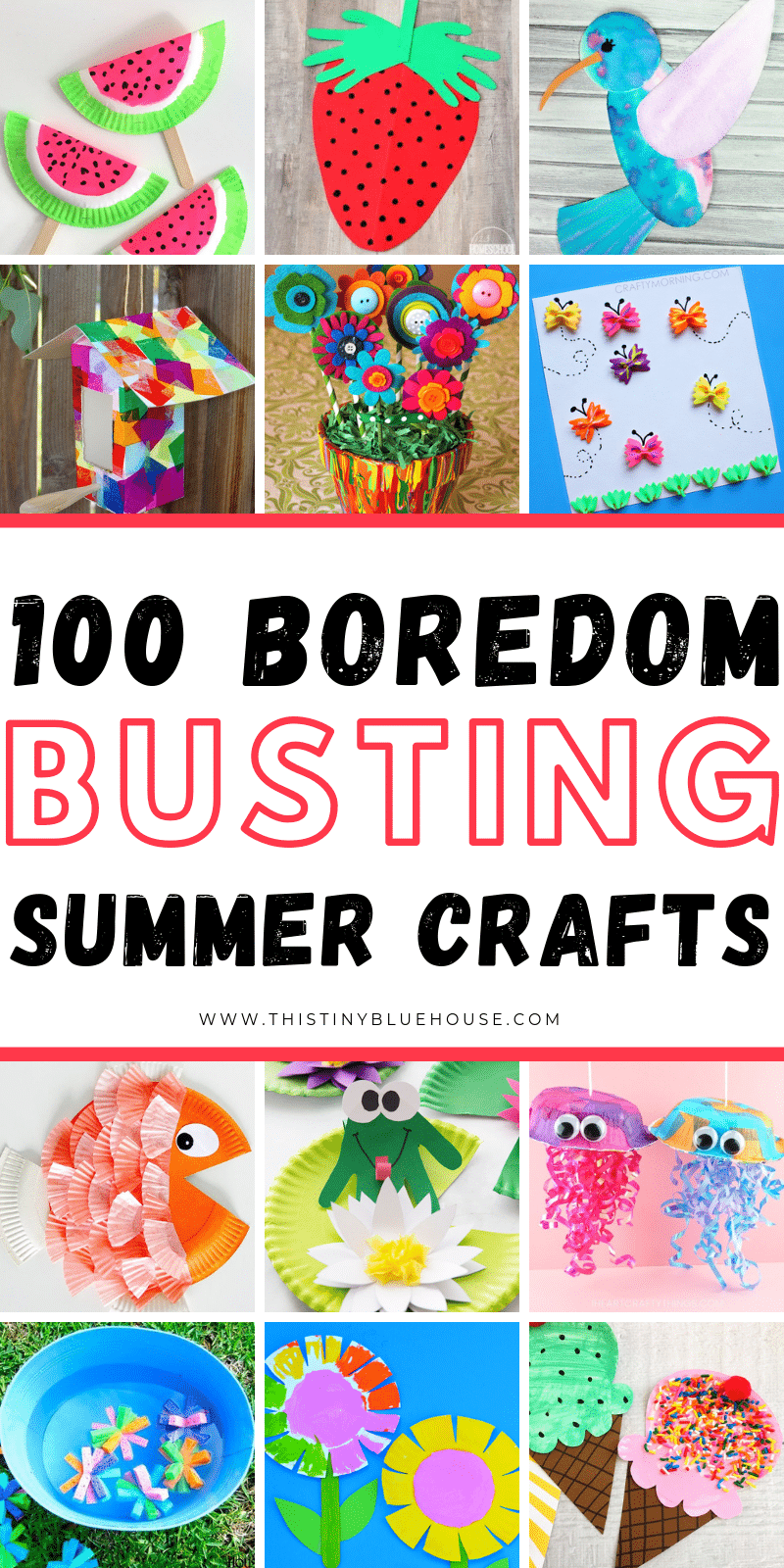 keep your kiddos engaged and busy this summer with these super fun boredom busting summer crafts for kids! Great for kids of all ages these crafts are guaranteed to provide hours of fun. #craftsforkids #craftsforlittlekids #summercraftsforkids #summeractivities #summercrafts #summeractivitiesforlittlekids #summeractivitiesfortoddlers #craftsfortoddlers #summercraftsforpreschoolers