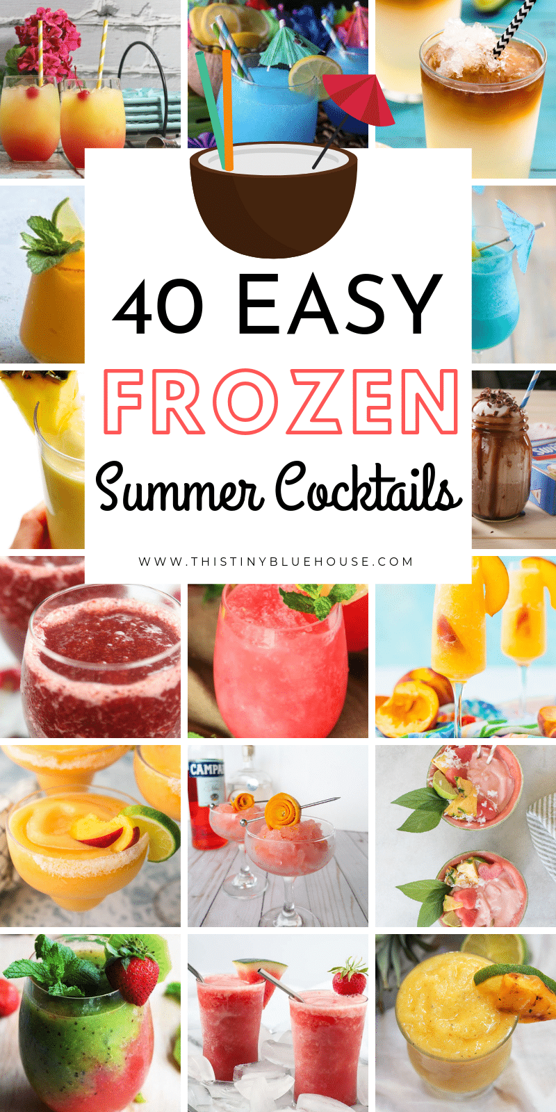 These 40 frozen summer cocktails are perfect for BBQs and long hot days with friends. Get your blender ready to whip up these delicious drinks! #cocktails #frozencocktails #summercocktails #frozensummercocktails #frozensummerdrinks #frozendrinkideas #frozencocktailideas