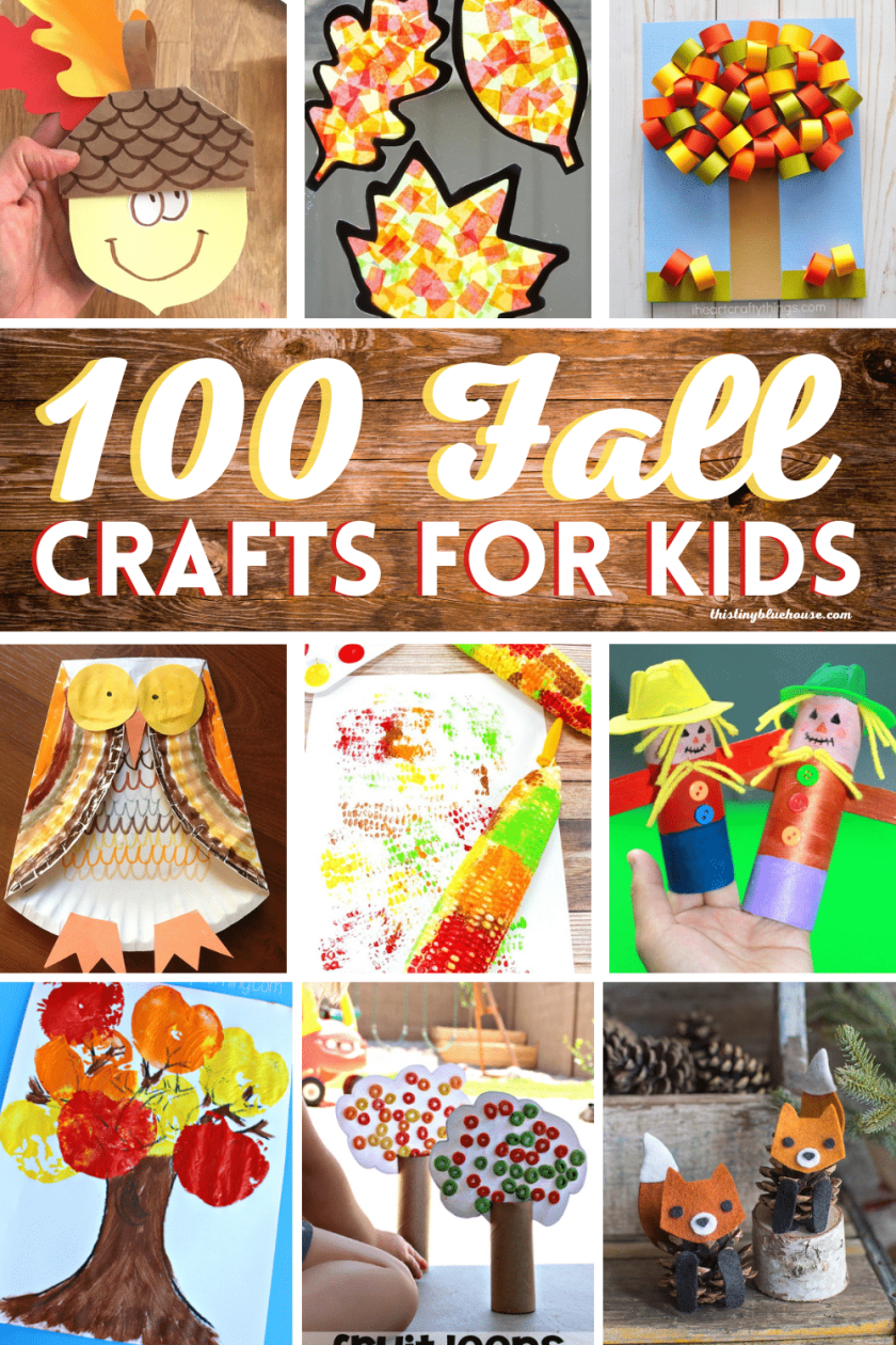 Here are over 99 best fun fall crafts for kids. Get excited about the arrival of fall with these easy to make fall kids craft ideas. From simple fall paint crafts to scarecrows and pine cone crafts there are ideas for fall crafts for kids of all ages.