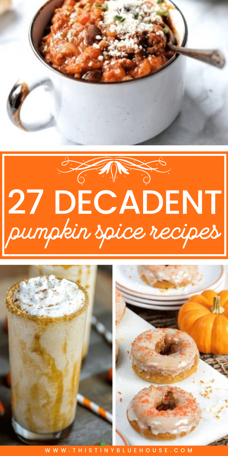 Here are 27 pumpkin spice recipes you just gotta try this year. From drinks to sweet and even savory this is a pumpkin spice lovers dream! #pumpkinspice #pumpkinspicerecipes #pumpkinspsicedrinks #pumpksinspicebeverages #pumpkinspicemuffins #pumpkinspicedinners #pumpksinspicerecipes #bestpumpkinspicerecipes