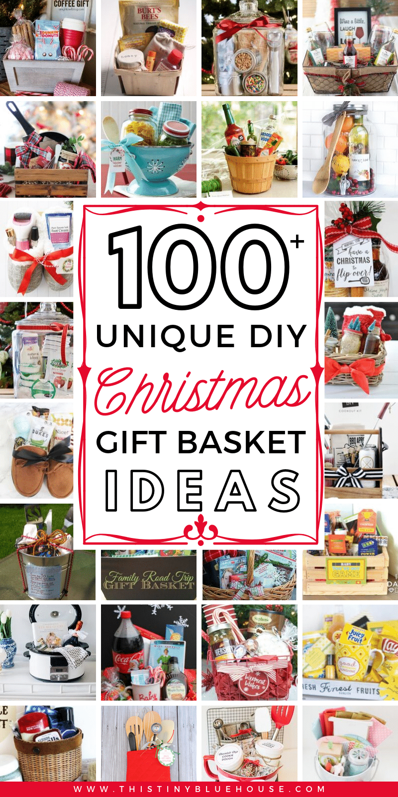 Spread some holiday cheer with these festive and unique DIY Christmas baskets. Here are over 100 fun festive DIY Christmas gift basket ideas for friends, family and even those who are the most difficult to buy for. #ChristmasGiftBaskets #ChristmasGiftBasketsForFamily #ChristmasGiftBasketsDIY #ChristmasGiftBasketsIdeas #DIYChristmasGiftBaskets #DIYChristmasBasketsGifts #Christmas #ChristmasGiftIdeas #DIYChristmasGifts