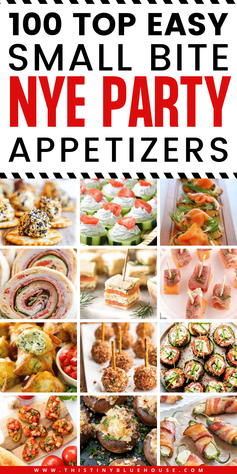 99+ top easy bite sized NYE appetizer Ideas perfect as starters or as a finger food tapas style dinner. #NewYearsEveParty #NewYearsEvePartyFood #NewYearsEvePartyAppetizers #NYEFoodideas #NYEAppetizerIdeas #NYEFingerFoods #SmallBiteAppetizers #FingerFoodRecipes #BestAppetizerIdeas