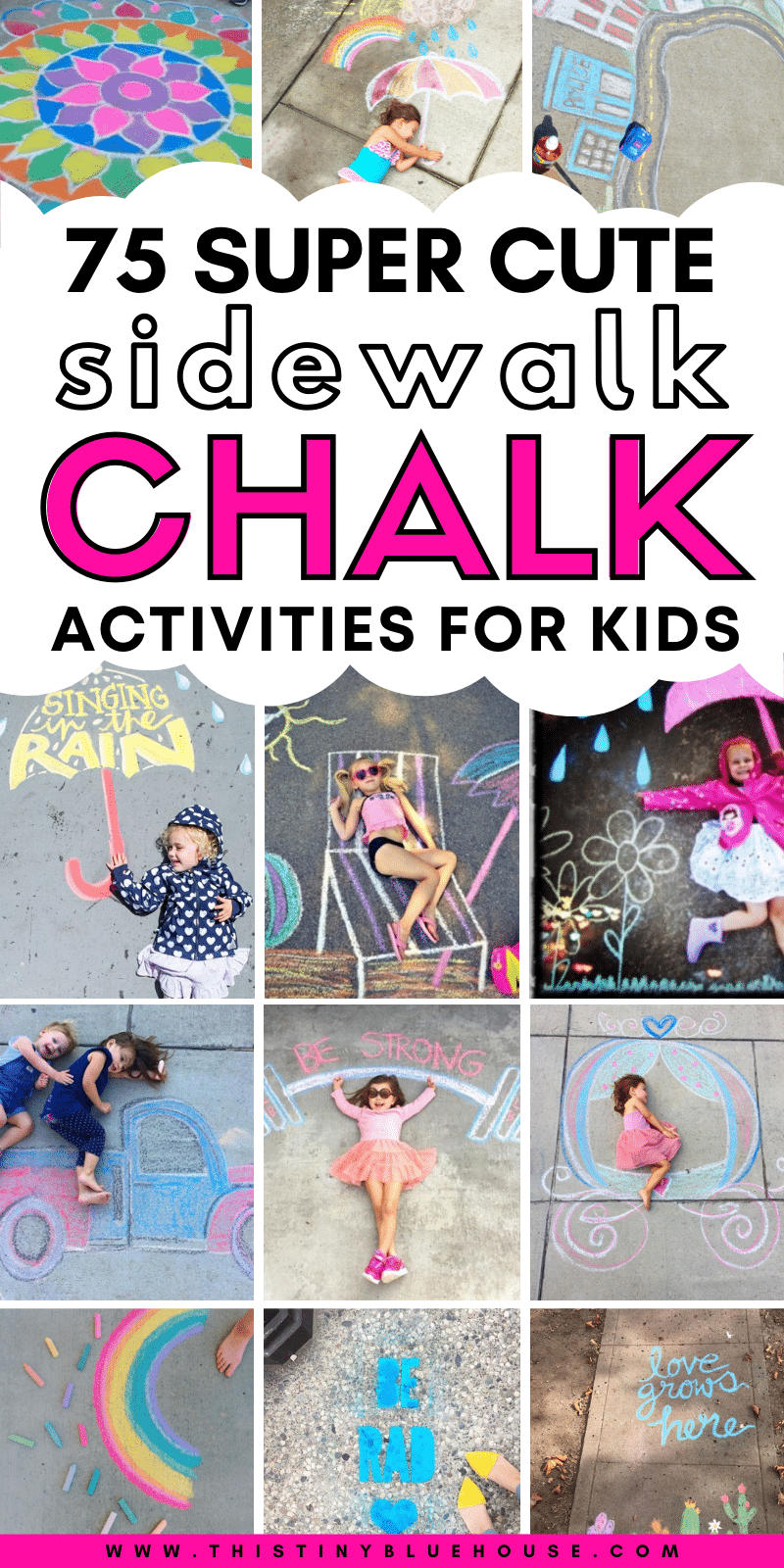 Here are 75+ creative, fun and entertaining sidewalk chalk art ideas for kids and adults alike. These creative sidewalk art ideas are a great way to enjoy spring and summer days being creative with the kids. These super fun chalk art projects are a great way to encourage kids to be creative while enjoying the great outdoors. #sidewalkchalk #sidewalkchalkart #sidewalkchalkartideas #sidewalkchalkartforkids #sidewalkchalkideas #sidewalkchalkartDIY #creativesidewalkchalkart #easysidewhalkchalkart