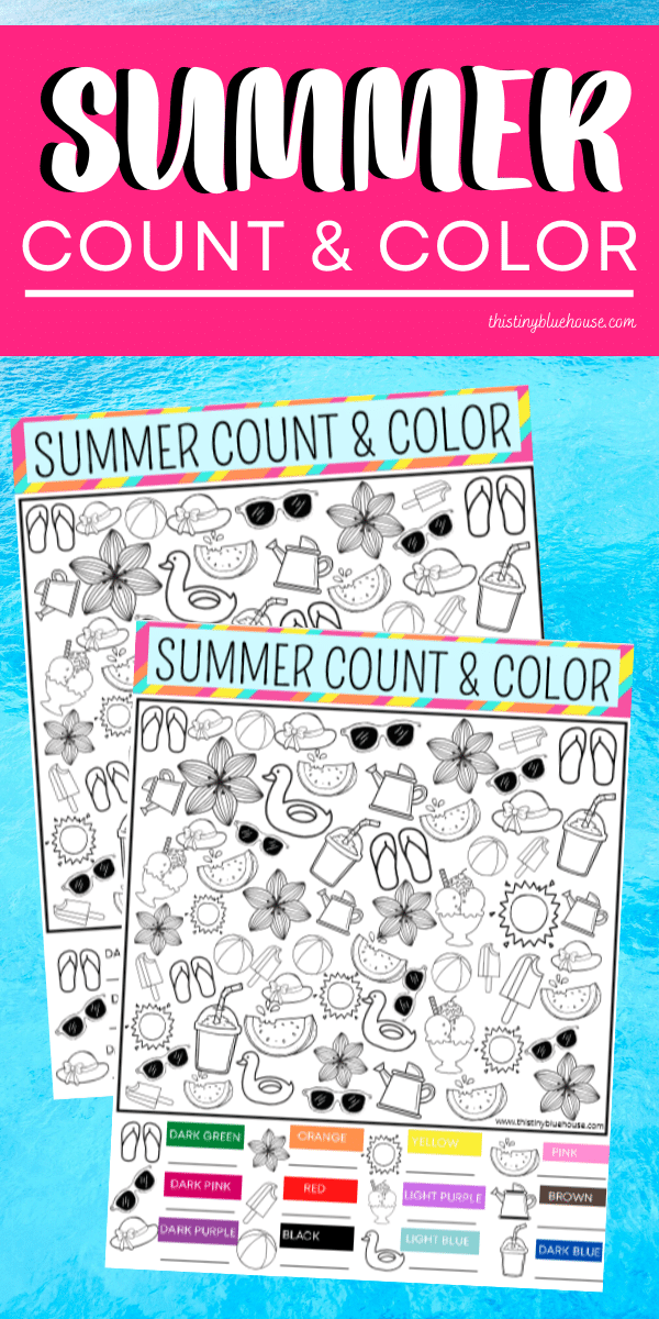 Reduce screen time with this FREE Summer Count and Color activity game. This fun boredom busting I Spy activity focuses on counting, sorting and coloring. #countandcolor #boredombustingactivities #boredombustersforkids #freeprintablegames #freeprintableactivities #ispy #ispaygame #freeprintablesforpreschoolers #funprintablegamesforkids
