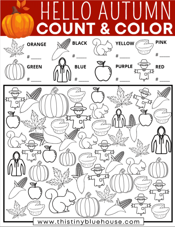 Welcome Fall with this fun Autumn I Spy Count and Color game for kids. Cutting screen time doesn't get much easier! So, download your free printable fall themed I Spy today.