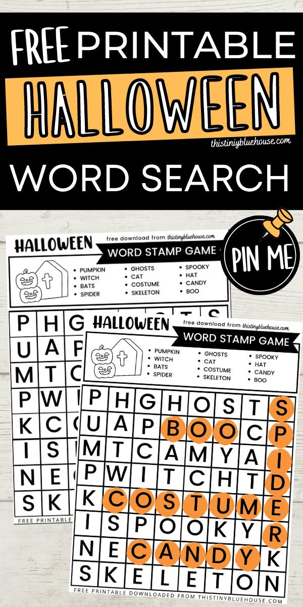 Free Printable Halloween Word Search Game