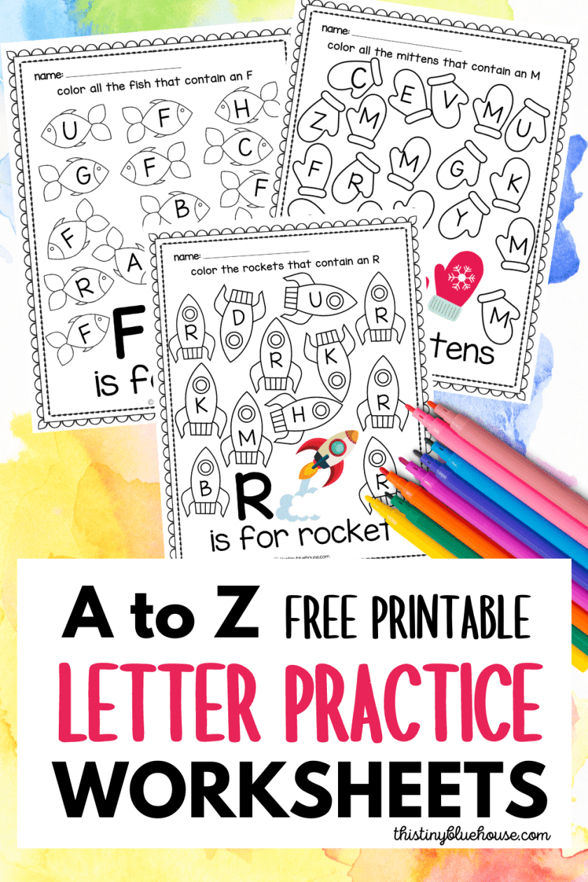 A to Z Free Printable Letter Practice Worksheets