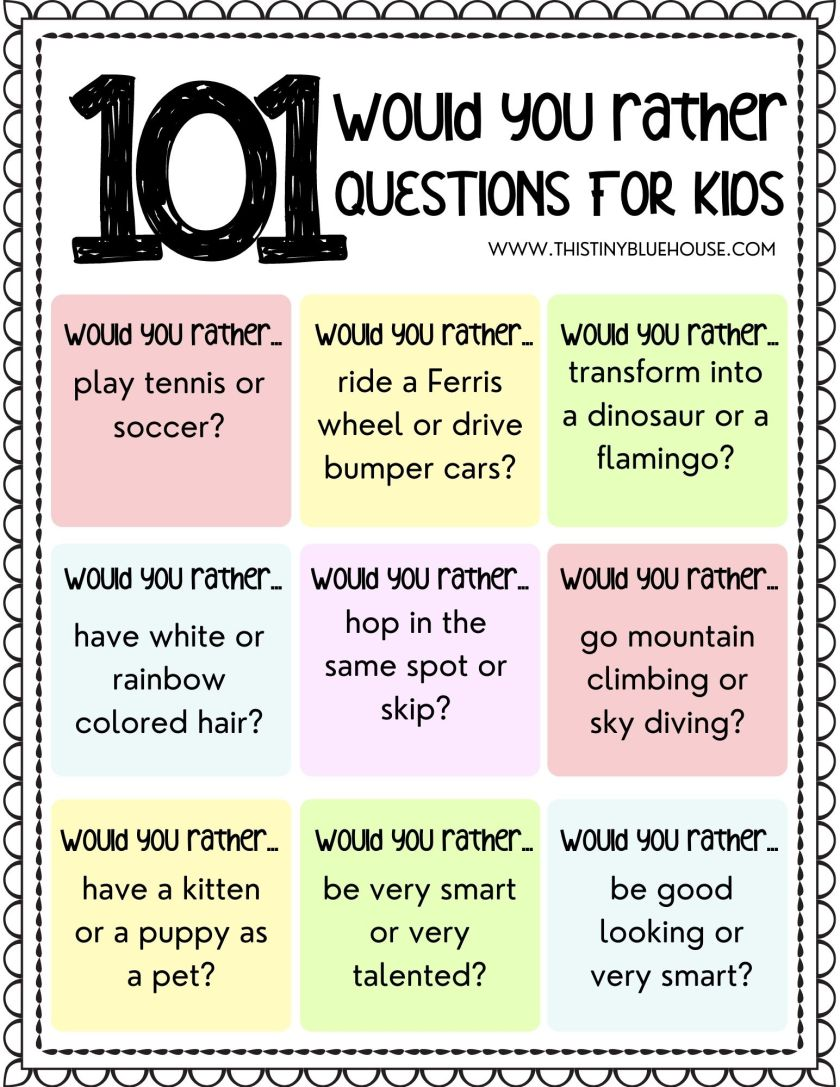 Fun Would You Rather Questions For Kids
