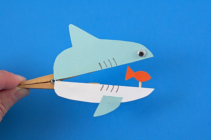 clothespin shark crafts for kids
