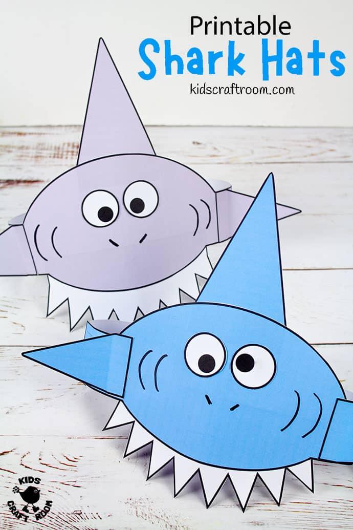 free printable shark hat printable
