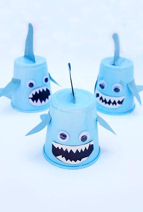 Paper cup shark crafts