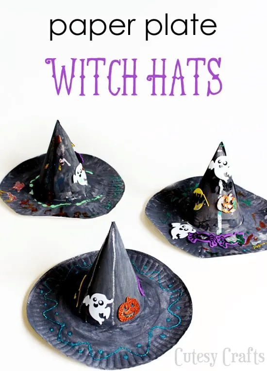 witch hat paper plate craft
