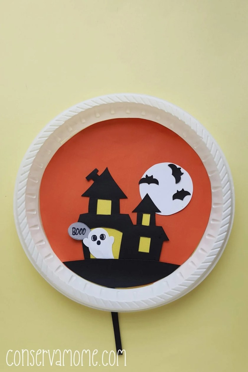 haunted house paper plate craft