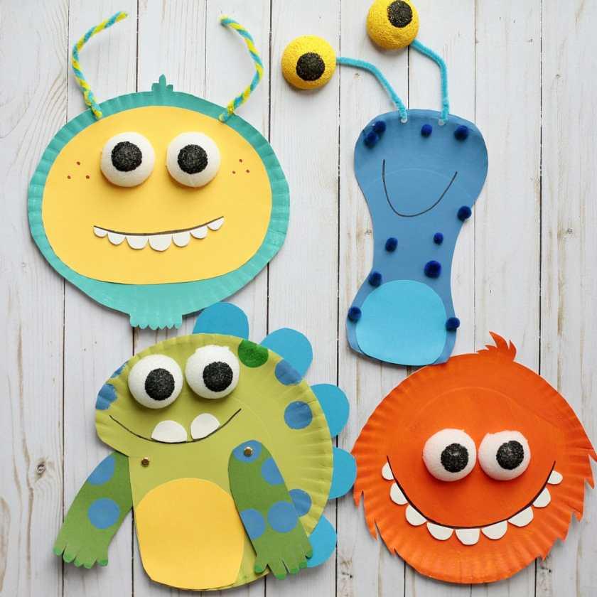 paper plate Halloween monster Crafts