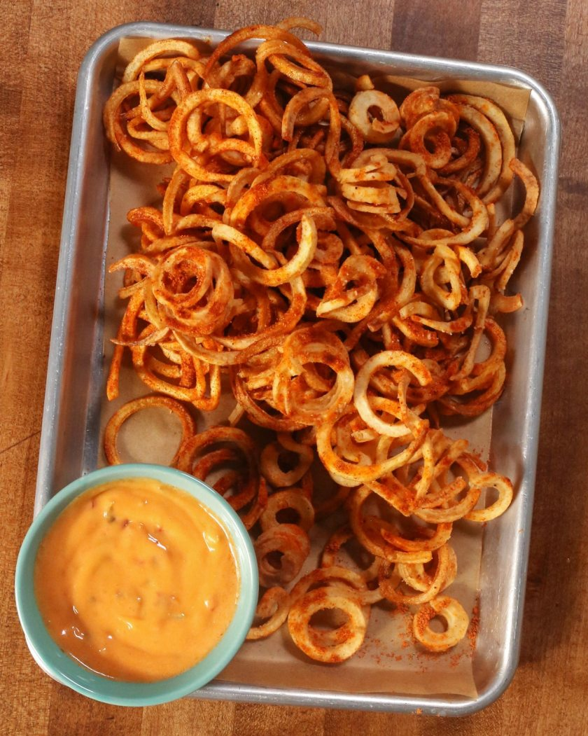 deep fried spiralized potatoes - curly fries