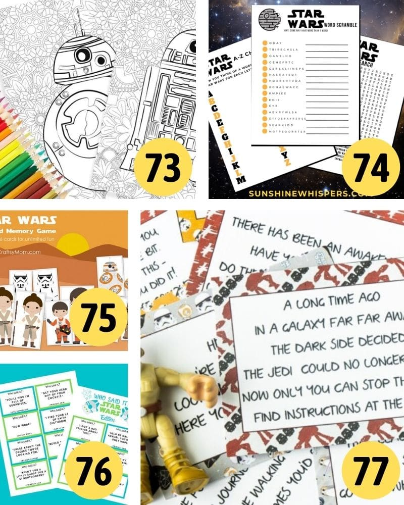 free printable star wars activities and games