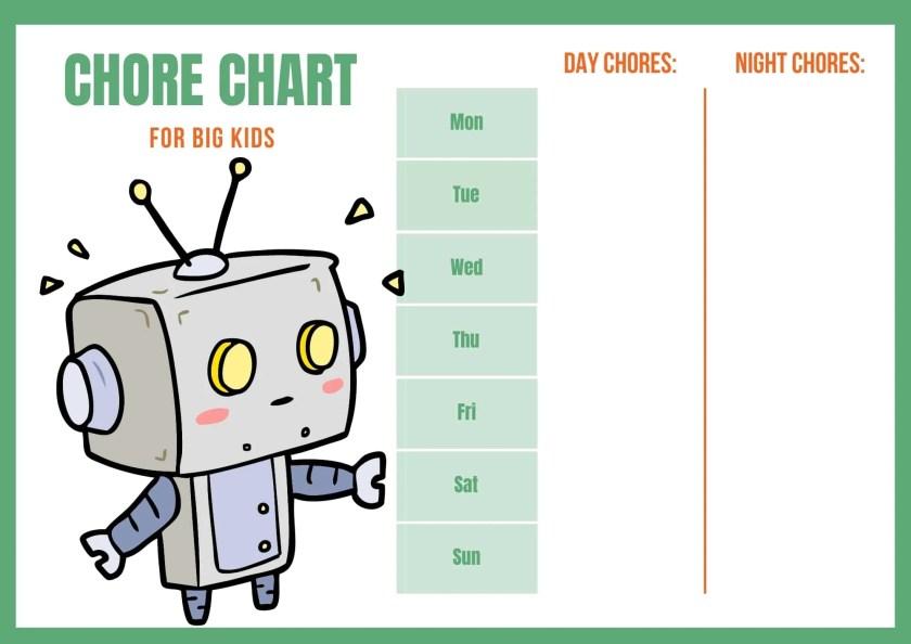 toddler chore chart for boys