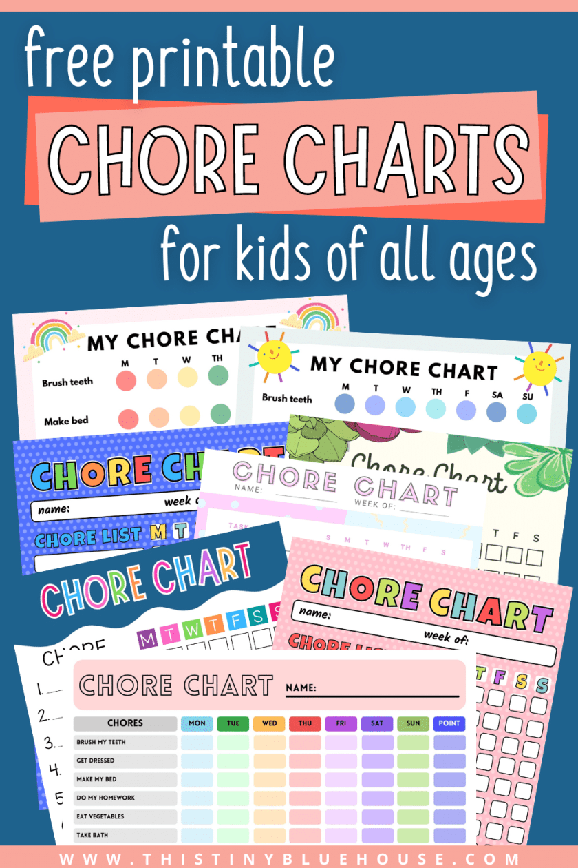 free printable chore charts for kids of all ages