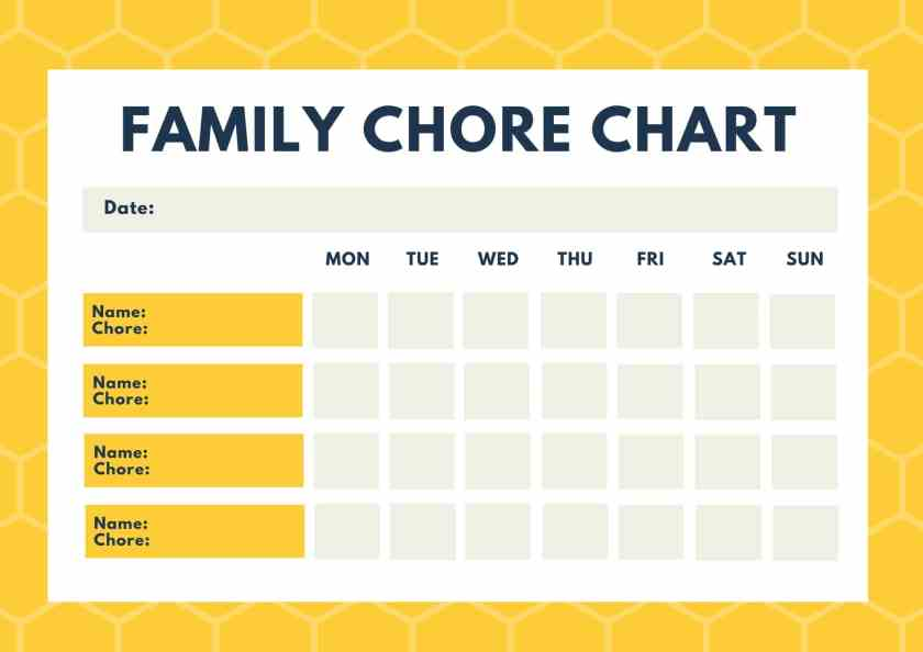 free printable blank family chore chart