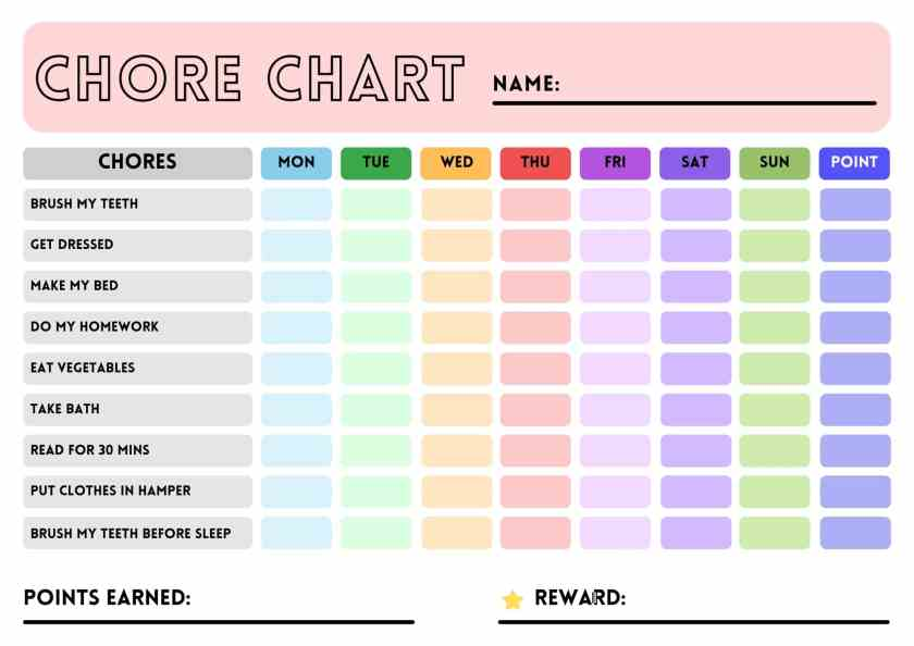reward chore chart templates