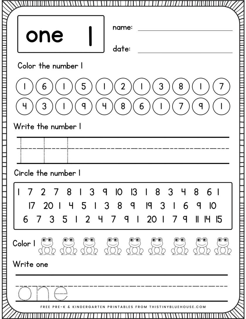 writing number practice worksheets number 1