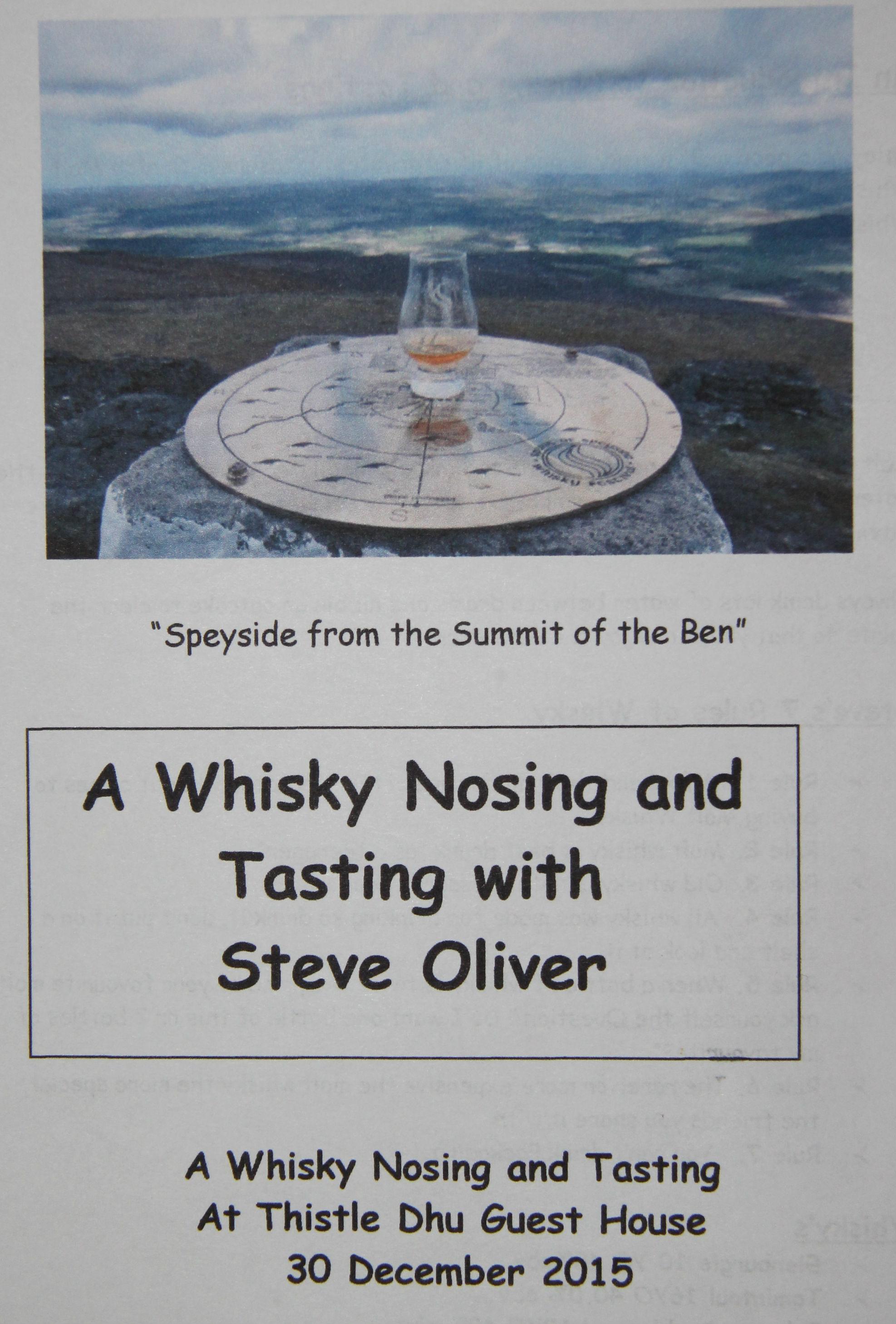 Whisky Tasting night 30 December 2015
