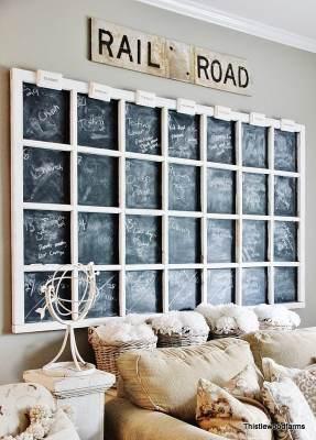 Chalkboard Calendar using Old Windows #chalkboard #calendar #oldwindows #vintagewindows #decorating #windows #decor