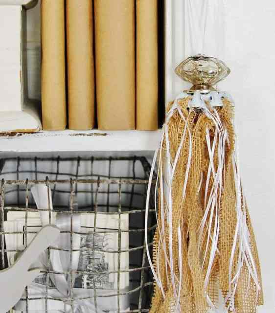 Burlap Tassel Made From a Faucet Handle